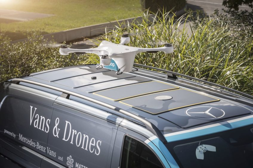 Kurierski Mercedes Vito z dronem na dachu – testy już trwają