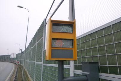 """Zniszczony fotoradar na węźle drogowym Gliwice """"Sośnica"""""""