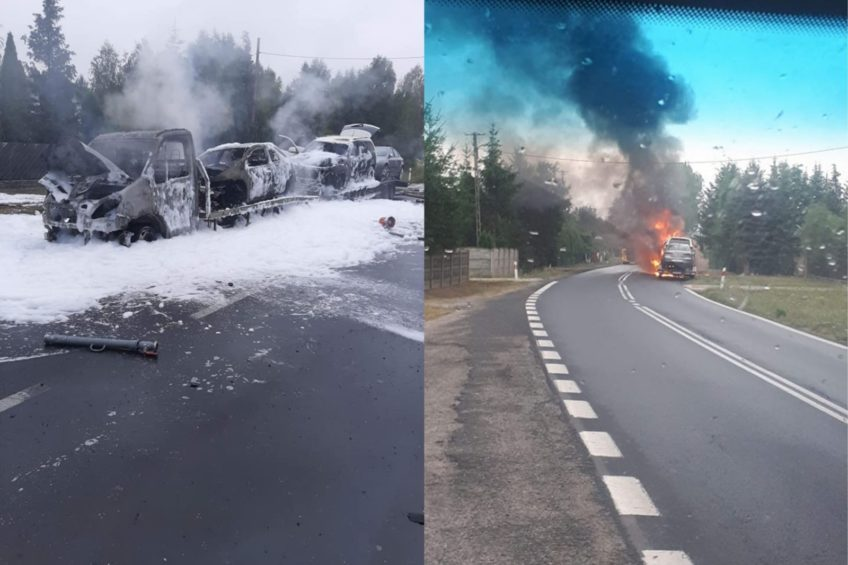 Iveco Daily w ogniu – spłonęły przewożone autolawetą samochody
