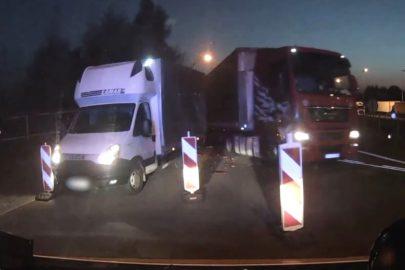 Pijany kierowca MAN-a uderzył w busa na kontroli (WIDEO)