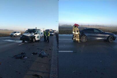 Inspektorka ITD wjechała VW T6 w BMW na A4 – dostała pouczenie