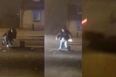 Odpalał fajerwerki na środku ulicy – potrącił go Citroen Jumper (FILM)